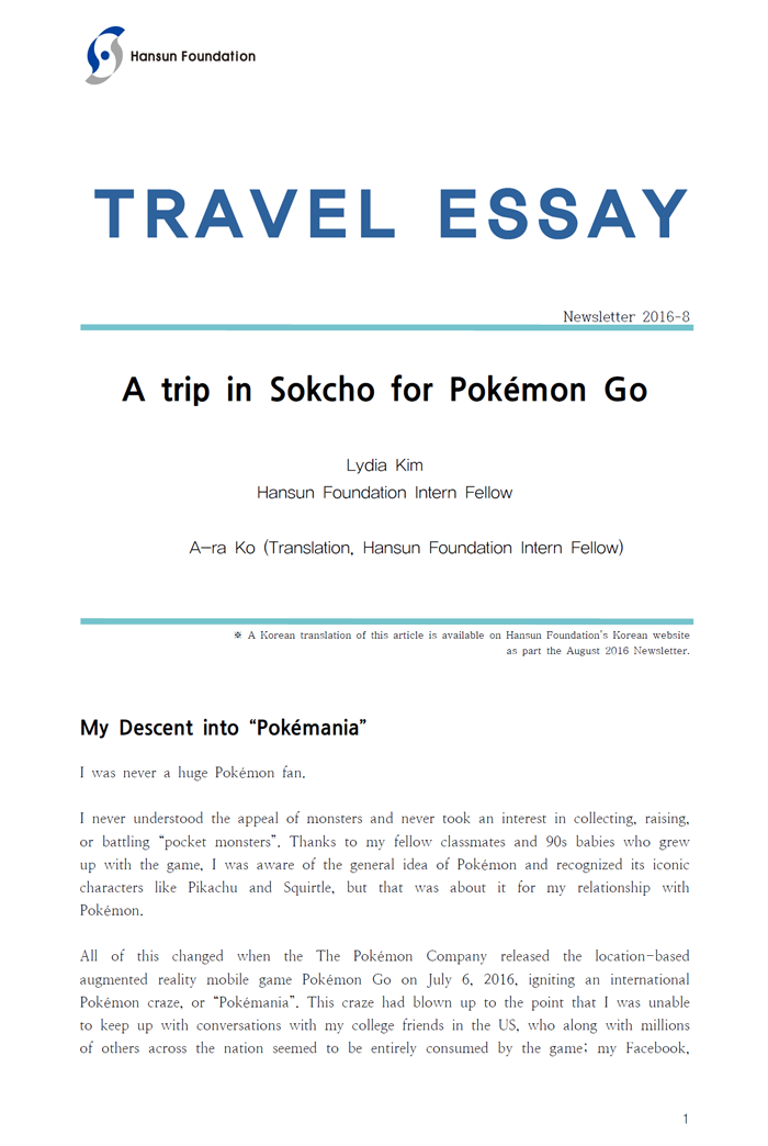 What is travel essay